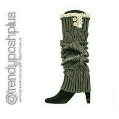 Dark Grey Lace Trim Leg Warmer/Boot Cuff Pair with leggings, tights, or skinny pants. Accessories Hosiery & Socks