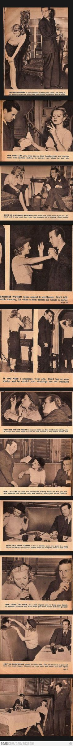 1938 Dating Guide For Single Women -- don't sit in awkward positions, consider wearing a brassiere, etc.!