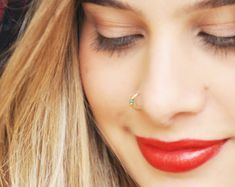 Tiny Gold Filled Fake Nose Ring No Piercing Needed Fake Eternity Ring Diamond, Eternity Bands, Diamond Bands, Diamond Wedding Bands, Diamond Cuts, Fake Piercing, Pierced Nose, Piercing Ring, Piercings