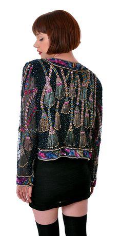 Tassel Beading Silk Trophy Jacket   Damsel Vintage - 80s Vintage Fashion