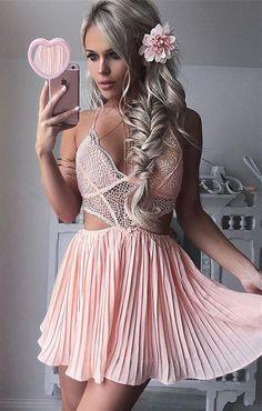 A-Line Dress,Halter Dresses,Short Homecoming Dresses,Pink Homecoming Dresses,Cocktail Dresses,Lace Dresses,Homecoming Dresses 2K17
