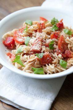 Easy Gluten Free Dinner: Tomato FusiliniI added Chicken, Fresh onions and sauteed mushrooms and garlic...