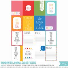 Free Rainbowy Printable Journal Cards! | MissTiina.com {Blog}