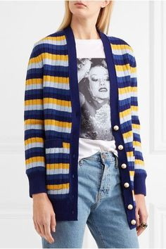 Gucci - Reversible Striped Wool And Printed Silk Cardigan - Blue - x large