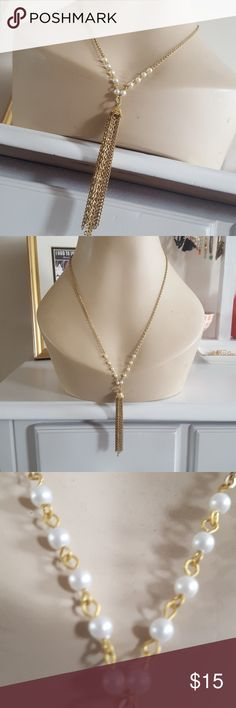 ⚠️Tassel necklace Made from vintage supplies, this tassel necklace has faux pearl adornments at either side of the tassel. Chain is approx 12 inches in length when clasped.  Cones in gift box Jewelry Necklaces