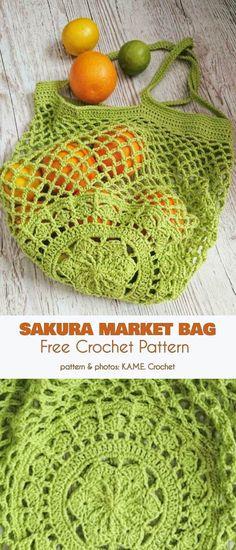 Crochet bags purses 227361481175825356 - Sakura Market Bag Free Crochet Pattern Source by chantdesfees Bag Crochet, Crochet Market Bag, Crochet Purses, Crochet Crafts, Free Crochet, Crochet Hooks, Crochet Handbags, Easy Crochet Patterns, Crochet Patterns Amigurumi
