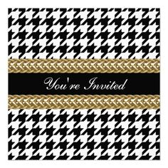 Elegant Houndstooth Black White Gold Party Invite In our offer link above you will seeShopping          Elegant Houndstooth Black White Gold Party Invite Review from Associated Store with this Deal...