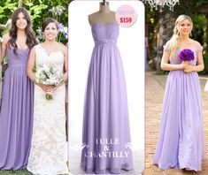 Lilac Ruched Bodice Floor Length Bridesmaid Dress with Beading Accent