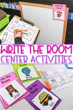 You will love this write the room center for the entire year! 80 different themes to choose from and change out all year long. Each set comes with differentiated response sheets. Beginning sounds, word families, nursery rhymes and more! #writetheroom #centerideas #kindergartencenters
