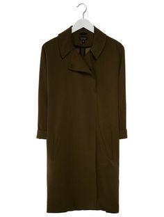 Topshop CREPE DUSTER Krótki płaszcz oliwkowy
