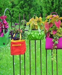 All of us can admit it that it's a fact that all of us have a lot of bags in our homes that we don't use; these bags can be used for decorating the garden now. Here in the picture, you can see that bags are filled with plants and hanged on the railing and they are looking truly awesome.