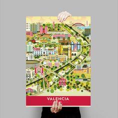 Print póster lámina Valencia ciudad de la luz centro histórico souvenir turismo original diseño regalos decoración Spain is different