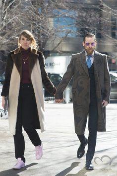 Veronika Heilbrunner and Justin O'Shea attend to Boss women 2015 2016 Fall Winter show during New York Fashion Week NYFW