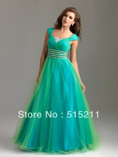 Modest Yellow And Turquoise Tulle Ball Gown Prom Dresses With Sleeves 2014