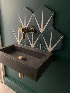 The double vanity in the master bath has a concrete trough sink with a wood slab… Concrete Sink Bathroom, Small Bathroom Sinks, Small Sink, Cloakroom Sink, Small Bathroom Designs, Best Bathroom Tiles, Downstairs Cloakroom, Basin Sink Bathroom, Bathroom Ideas