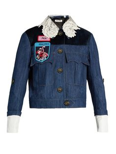 Badge-embellished denim jacket | Miu Miu | MATCHESFASHION.COM
