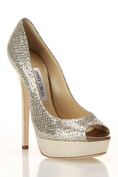 Mixed metallic peep toe platform heels by Jimmy Choo...sigh.