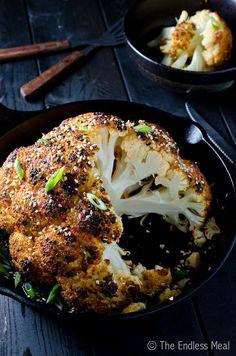 Whole Roasted Sesame Ginger Cauliflower