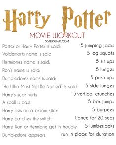 harry potter workout