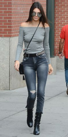 From '70s-style flares to super high-waist skinnies, see how Kendall Jenner pulls off every kind of jeans.