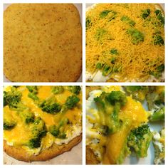 Coconut flour pizza (Dr Axe) with ricotta cheese, broccoli, onion, cheddar cheese - herbs de Provence, garlic, salt, pepper.