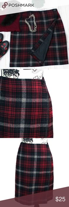"Herman Geist Red/Black Plaid Wrap Around Skirt 16 Herman Geist Red/Black Plaid Wrap Around Skirt 16 Wrap around skirt with Buttons and Fully Lined In Excellent Condition, Made in  Columbia  Size:  16 Waist:  32"" Length:  21  40% Wool 30% Acrylic Herman Geist Skirts A-Line or Full"