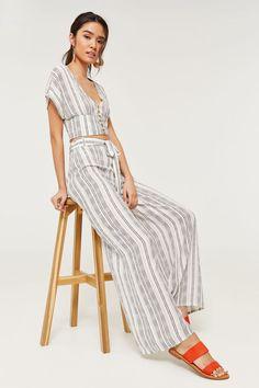 a24286ec7 Striped Self Tie Wide Leg Pants - Clothing | Ardene