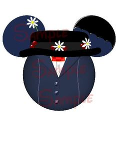Mary Poppins Character inspired Mickey head DIGITAL printable file DIY on Etsy, $3.00