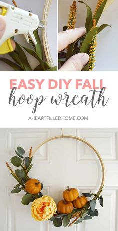 Such an easy DIY Fall wreath, perfect for Fall! Find the tutorial at aheartfilledhome.com