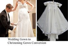 """Modern wedding gown to christening gown conversion, after a """"trash the dress"""" session by irishandmore.etsy.com"""