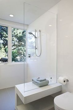 """View this Great Modern Master Bathroom with High ceiling & Master bathroom by Larson Shores Architects. Discover & browse thousands of other home design ideas on Zillow Digs. Bathroom Toilets, Bathroom Renos, Laundry In Bathroom, Bathroom Interior, Small Bathroom, Laundry Chute, Shower Bathroom, Master Shower, Glass Shower"