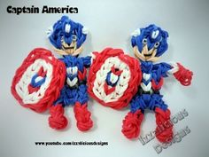 Rainbow Loom CAPTAIN AMERICA (single loom). Designed and loomed by Kate Schultz of Izzalicious Designs. Click photo for YouTube tutorial. 03/17/14