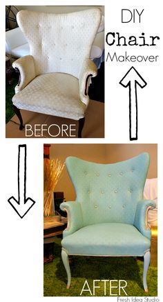 Paint upholstery with Annie Sloan Chalk paint, painting upholstery before and after! Buy Annie Sloan Chalk Paint®‎ from local stockist Brenda Brown @ Annex of paredown in Ann, Arbor Chalk Paint Furniture, Furniture Projects, Furniture Making, Furniture Makeover, Diy Furniture, Diy Projects, Chair Makeover, Repurposed Furniture, Shabby Chic Furniture