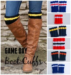 Game Day #bootcuffs Cute outfit idea to cheer on the home team - via sparklytwig.etsy.com
