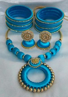 Sky Blue Silk Thread Jewellery Set Tired of metal jewellery? Try out our colorful, unique and customized silk thread jewellery! Silk Thread Earrings Designs, Silk Thread Bangles Design, Silk Thread Necklace, Silk Bangles, Jewelry Design Earrings, Tiny Stud Earrings, Thread Jewellery, Necklace Designs, Metal Jewellery