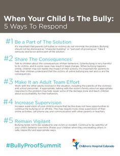 How to respond when your child is the bully from experts at Children's Colorado. http://www.childrenscolorado.org/wellness-safety/parent-resources/expert-tips