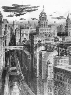 The Dieselpunk Flim-Flam City Drawing, Futuristic City, Science Fiction Art, Future City, Diesel Punk, Art Plastique, Oeuvre D'art, Art And Architecture, Fantasy Art