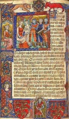 Miniature of Alexander the Great with his advisor, Aristotle, seated behind him, Additional 47680, f. 14v. c.a. XIV. Medieval Imago & Dies Vitae Idade Media e Cotidiano.
