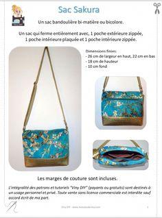 Sac Sakura Tutoriel et Patron PDF Types Of Handbags, Cute Handbags, Crossbody Bag, Tote Bag, Cross Body Handbags, Sakura, Diy And Crafts, Purses, Stuff To Buy