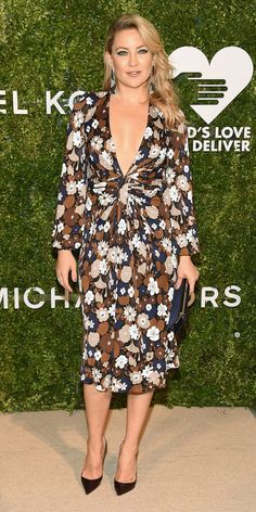 The raciness of Kate Hudson's plunging Michael Kors Collection dress from the 2016 God's Love We Deliver Golden Heart Awards was tempered by its sweet floral print.