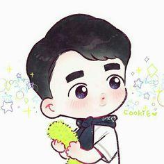 Exo Cartoon, Cartoon Fan, Kyungsoo, Exo Anime, Exo Lockscreen, Exo Fan Art, Kpop Drawings, Cute Love Pictures, Kpop Fanart