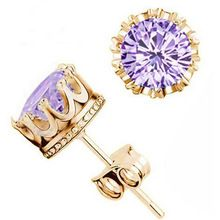 3 Colors Fashion Classic Lady 18K Gold Plated Crystal CZ Diamond Jewelry Crown Stud Earrings For Women Girls Gift Brincos(China (Mainland))