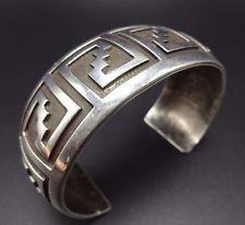 """Vintage HOPI Sterling Silver OVERLAY Cuff BRACELET, 48.2 grams, 7.5"""" wrist"""