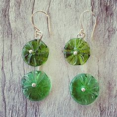 Double recycled glass flower earrings – Julie Frahm – Glass Jewellery