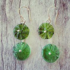 Double recycled glass flower earrings – Julie Frahm – Glass Jewellery
