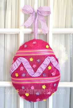 Deco Mesh Easter Egg how to #decomesh #easter