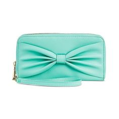 Women's Bow Wallet Teal ($15) ❤ liked on Polyvore featuring bags, wallets, blue, purses, sport wallet, cell phone wallet, pocket wallet, leather wallet y leather cell phone wristlet