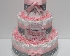 Vintage shabby chic pink and gray diaper cake by JennyKnickDesigns