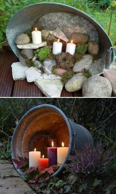 Candles in a galvanized tub.