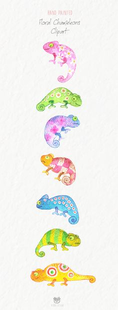 Chameleon Clip Art - a beautiful set of hand painted watercolor Chameleon clipart. Clipart can be used for any diy invitations, scrap booking, card making, children books, announcement cards, blogs, logos or photo overlays and more!